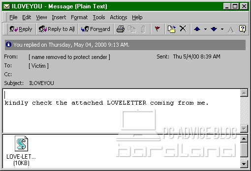 E-mails containing the ILOVEYOU virus